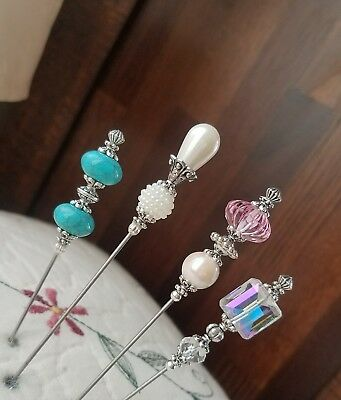 Victorian Hat Pins, Vintage inspired, Antique Style Beads Scarf Pin Strong Sharp