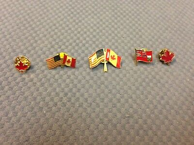 Canadian American Flag Pins Ontario Maple Leaf Lot of 5 America Canada Vintage