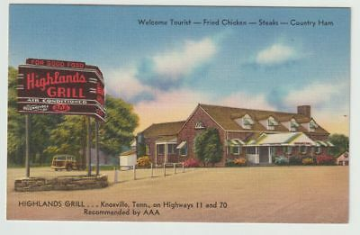 Unused Postcard Highlands Grill Highway 11 and 70 Knoxville Tennessee TN