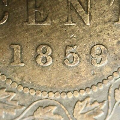 Canada 1859 One Cent Repunched 9 over 8 ERROR 9/8 Toned Coin