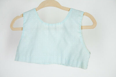 Vintage 1950s 1960s MCM Blue kid child baby Blouse Crop Top Cotton Lace Polka Do