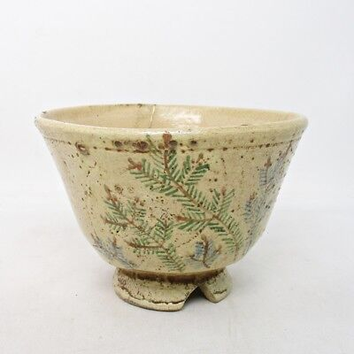 A759: Real old Japanese tea bowl of pottery with tasteful painting of pine