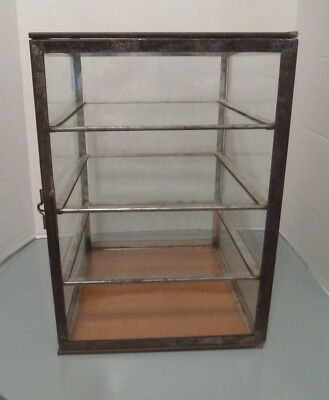 Antique Countertop Glass & Tin Display Case Store Jewelry 3 Slide out Shelves