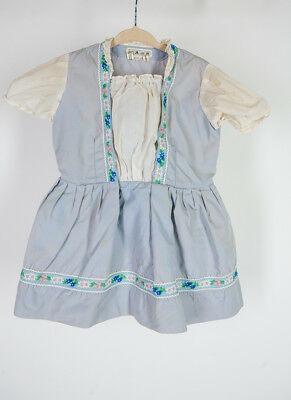 Vintage 1950s 1960s MCM Edelweiss Pinafore Dress Kid Child Baby Floral Blue Whit
