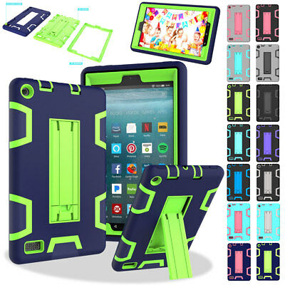 For Amazon Fire 7/HD 8 Shockproof Heavy Duty Rubber Armor Stand Case Cover 2017