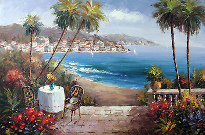 Italian Beach House Village Sand Surf Palms Stretched Large Oil Painting