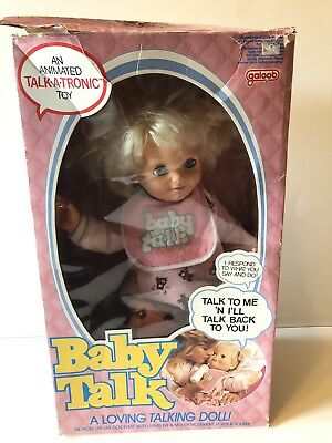 Galoob Baby Talk 1985 Vintage Talking Doll with box (damaged) and Bottle