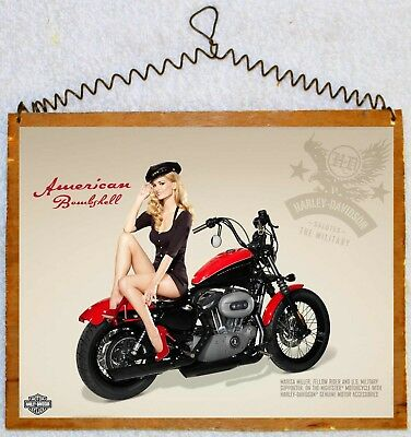 Harley Davidson USA VETERAN MADE Wood sign Pin UP Art Nightster military pinup