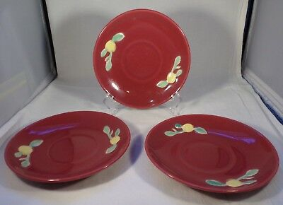 Coors Pottery Marked 3 Saucers Rosebud Burgundy Color No Chips