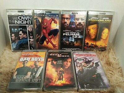 NEW PSP UMD Video Lot of 7 Action Movies Bad Boys Spiderman 3 We Own the Night