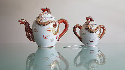 Vintage Japanese Teapot & Sugar Basin, Interesting Dragon Decorated Theme.