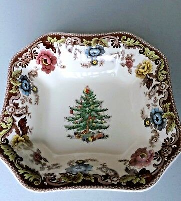 Spode Woodland Christmas Tree Grove c.1938 Square Serving Bowl 9.5 in. Mint