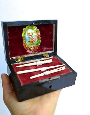Antique Small Wooden Sewing Tools Box