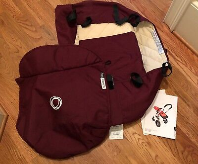 NEW Bugaboo Frog Stroller Bassinet Maroon Quilted With Apron & Manual