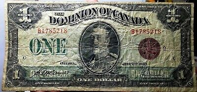 1923 Dominion of Canada $1 One Dollar Banknote Bill Canadian Currency