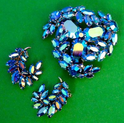 SHERMAN Metallic Blue AB Pin Brooch & Pair of Clip Earrings Set in Box, 1960s