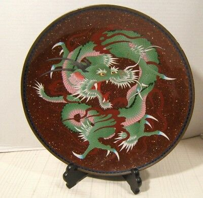 Japanese Cloisonne Charger Vivid Colors Gold Stone Exc Quality 19Th