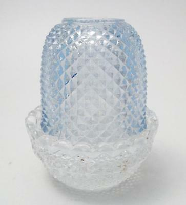 Antique Clarke Pyramid Glass Fairy Light Lamp Ice Blue Diamond Point