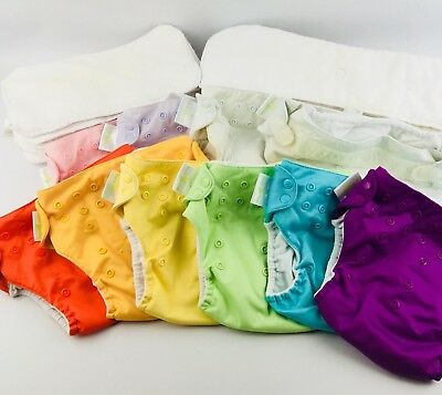 BumGenius Baby Cloth 10 Diaper Cover & 20 Insert Lot Snaps Pocket Liners Stains