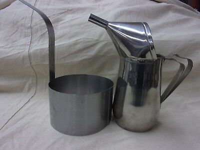"""funnel cake pitcher and 6"""" ring stainless steel, commercial, gold medal brand"""