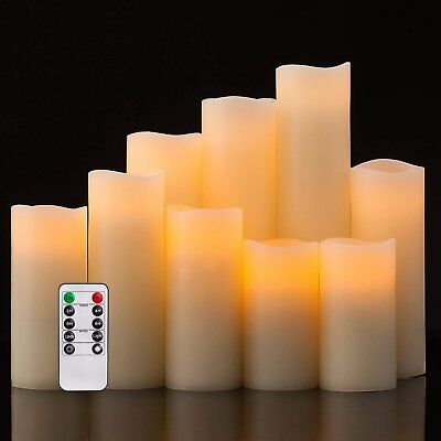 Flameless Candles,Led Candles 9 Pack Ivory Real Wax Battery Candles Remote Timer
