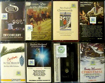 8 Christmas Music Cassettes Streisand Nat King Cole Smoky Mountain Desert Choral