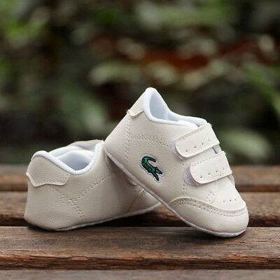 Baby Boy Girl White Sneakers Crib Shoes Child Trainers Size Newborn to 18 Months