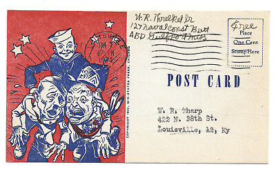 1944 Patriotic Sailor Anti Hitler Mussolini WWII Louisville KY Soldier Free Mail