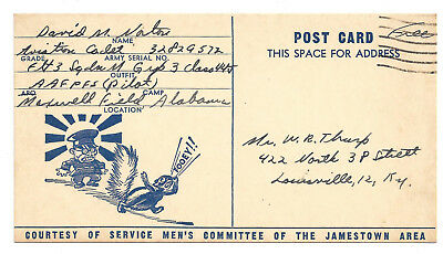 1944 Patriotic Airman Anti Tojo WWII Louisville KY Soldier Free Mail Squirrel