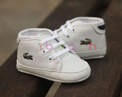 Newborn Baby Boy Girl Pre-Walker White Soft Sole Crib Shoes Laces Sneakers 0-18M