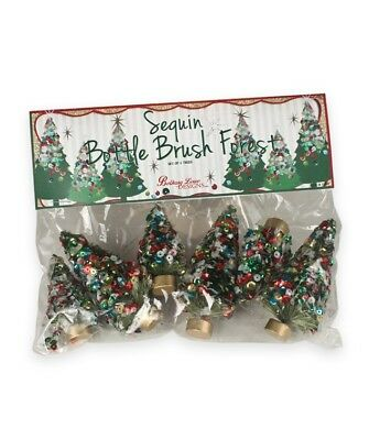 "Bethany Lowe Christmas Mini Jolly Sequins Bottle Brush Trees Set of 6 3.5"" Tall"