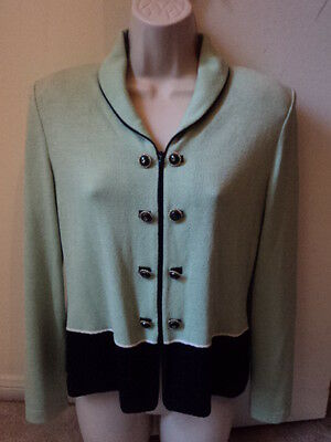 ST. JOHN COLLECTION By Marie Gray Mint Green Zip Up Knit Jacket Sz 2 ~EUC~