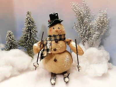 "10"" tall SNOWMAN ON SKIS.......""COLLECTIBLE "" FOR CHRISTMAS~WINTER DECOR"