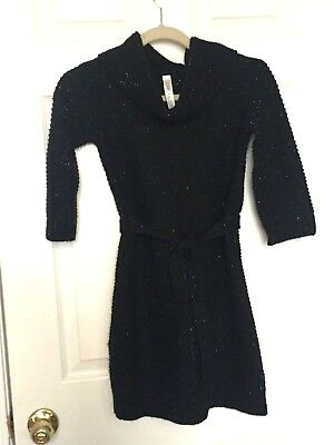 Cherokee Girls Sweater Dress Black With Gold Shimmer Thread Size Large 10 12 bb397b068