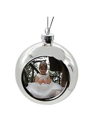 Personalised Photo Christmas Tree Bauble Xmas Add Message & Picture Offer Accept