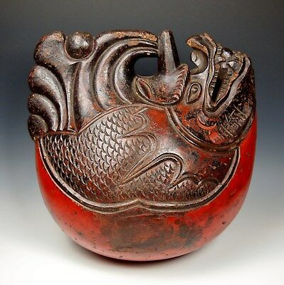 MAGNIFICENT ANTIQUE JAPANESE TEMPLE DRUM LACQUERED WOOD Edo Mokugyo Gong Bell