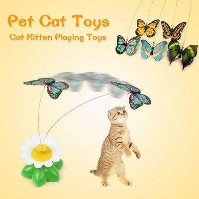Pet Cat Kitten Electric Rotating Butterfly Bird Rod Cat Teaser Play Toys Funny