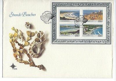 SOUTH AFRICA 1983 FIRST DAY COVER - Beaches, Mini sheet