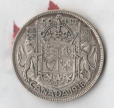 1938 Canadian King George 50 Cent Piece- 80% Silver- Only 192,000 Minted