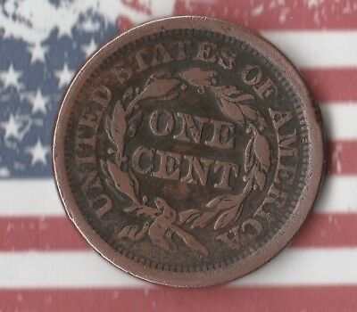1852 Braided Hair Large Cent United States of America Penny-