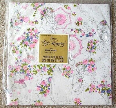 vintage bridal shower gift wrapping paper white wpink flowers bride 60s70s