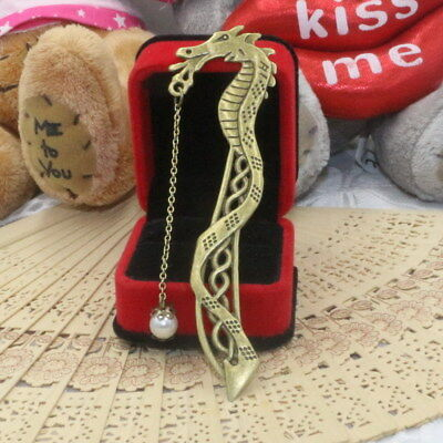 Trendy Vintage Dragon Design Bookmark Luminous Bead Pendant Notebook Metal Clips