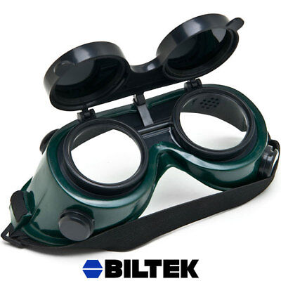 Welding Flip Up Goggles Style Glasses Costume Double Lens Dark Lenses Safety