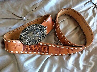 "Vintage Men's Hand Tooled Leather Belt 40"" California State Seal Brass Buckle"