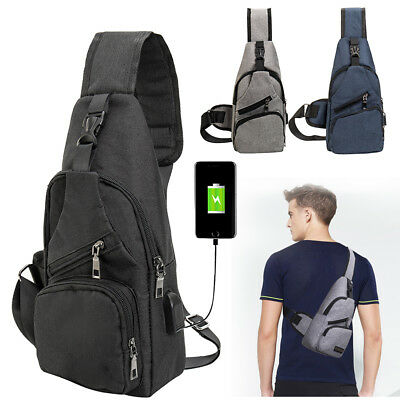 Men's Sling Bag With USB Charging Chest Pack Crossbody Shoulder Messenger Bags
