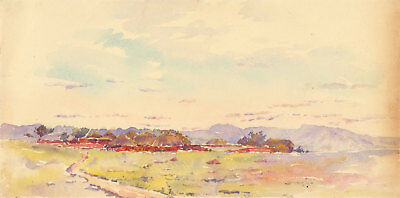 Early 20th Century Watercolour - Haystacks in a Landscape