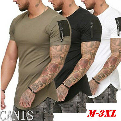 Mens Short Sleeve TEE Shirt Slim Fit Casual Blouse Top Summer Clothing Muscle UK