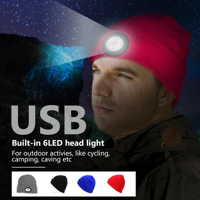 6 LED Beanie Hat With USB Rechargeable Battery  Flashlight Fishing Camping Light