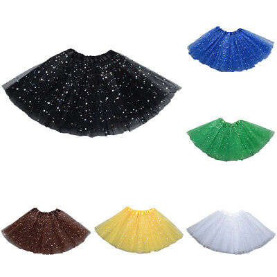 Girls 3 Layers Mesh Sequins Dance Party Performance Princess Tutu Skirt Newly