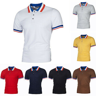 Stylish Men Short Sleeve T-Shirt Summer Casual Golf Tennis Collar Polo Shirt Top
